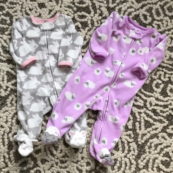 Carter's Other - Two 3 month zip fleece onesies